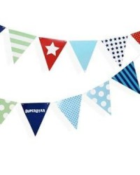 image: Blue bunting party flags