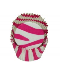 image: Zebra stripe (HOT Pink & white) MINI cupcake papers