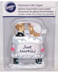 image: Just married humourous car cake topper