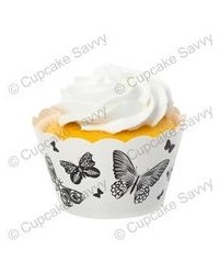 image: Cupcake wrappers Black & White butterflies (12)