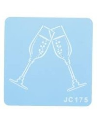 image: Champagne flutes or glasses stencil