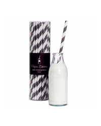 image: Black & white Stripe retro paper party straws