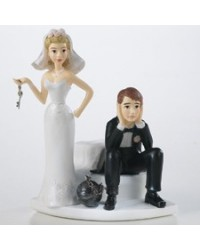 image: Ball & chain humourous bride & groom topper