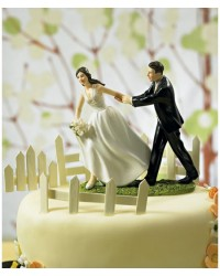 image: Bride & Groom cake topper Race to the altar