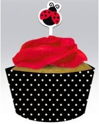 image: Ladybug cupcake wrappers & toppers (12)