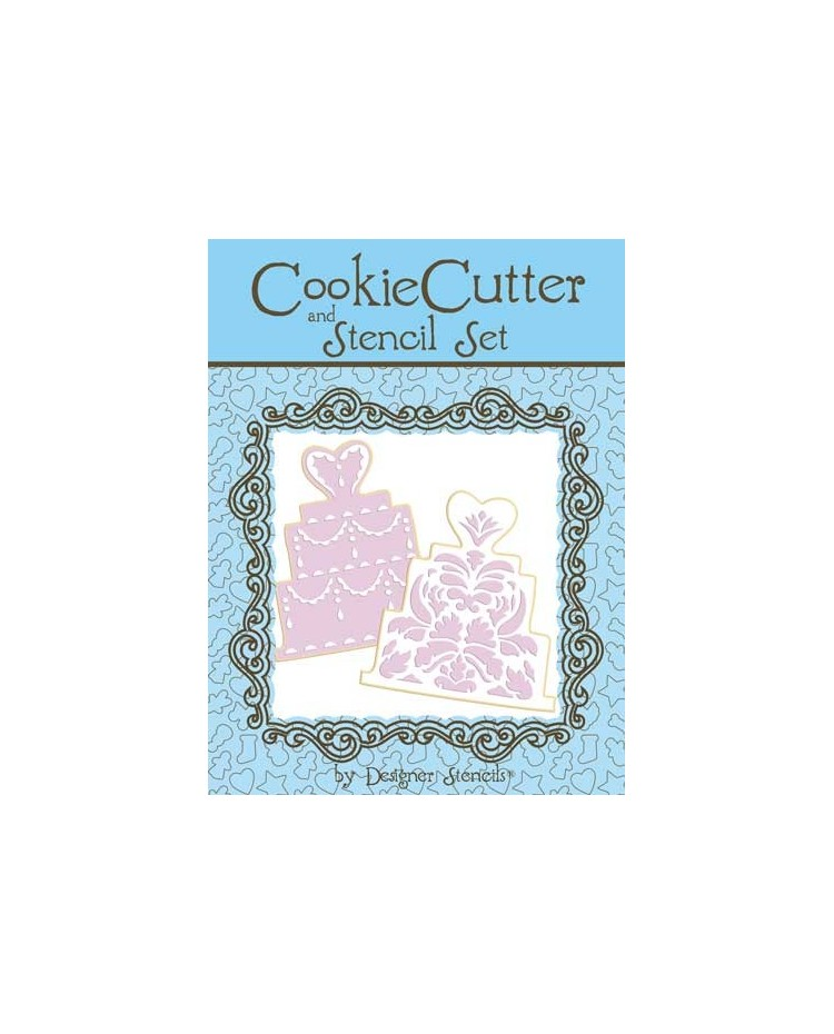 image: Wedding Cake Cookie Cutter and Stencil Set