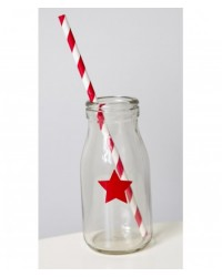 image: Glass milk bottle Red star
