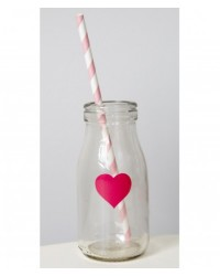 image: Glass milk bottle Pink heart