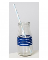 image: Glass milk bottle Blue stripes