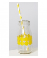 image: Glass milk bottle Yellow Dots