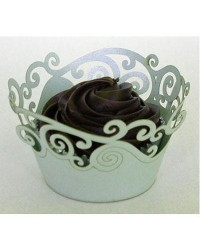 image: Light green lace Koru Swirl cupcake wrappers