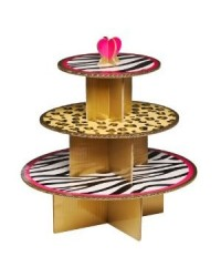 image: 3 tier Safari & jungle print leopard & zebra cupcake stand