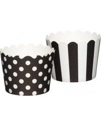image: Sweetly does it Black & white straight sided cupcake papers