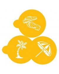 image: Beach cookie stencil set (Jandal Jandals, palm tree & umbrella)