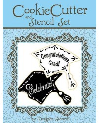 image: Graduation Cap Cookie Cutter and Stencil Set