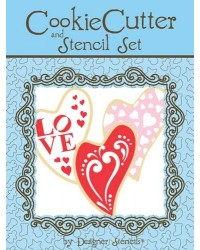 image: Folk Heart Cookie Cutter & Stencil Set