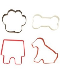 image: 4 piece dog pet cookie cutter set (dog bone paw & house)