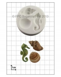 image: Seahorse and Seahells shells silicone mould