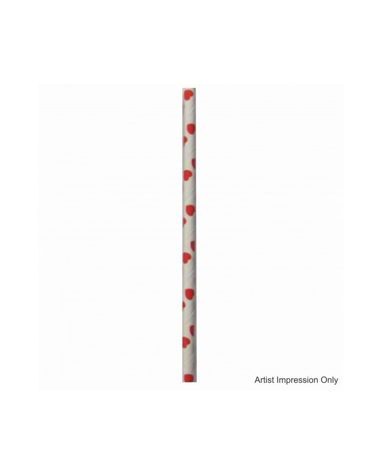 image: Hearts paper retro paper party straws