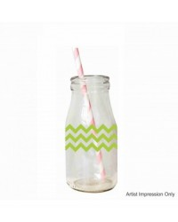 image: Glass milk bottle Green zig zag Chevron