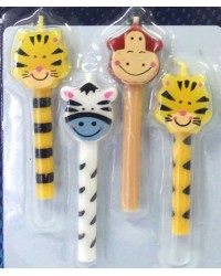 image: Shaped safari jungle zoo animal face candles