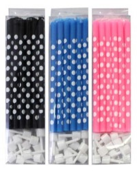 image: Slim candles Royal Blue & white polka dot with holders
