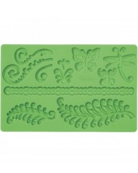 image: Fern KORU butterflies & dragonfly Fondant and Gumpaste Silicone