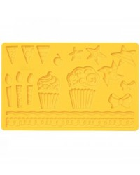 image: Pin wheel cupcakes bunting Fondant and Gumpaste Silicone mould