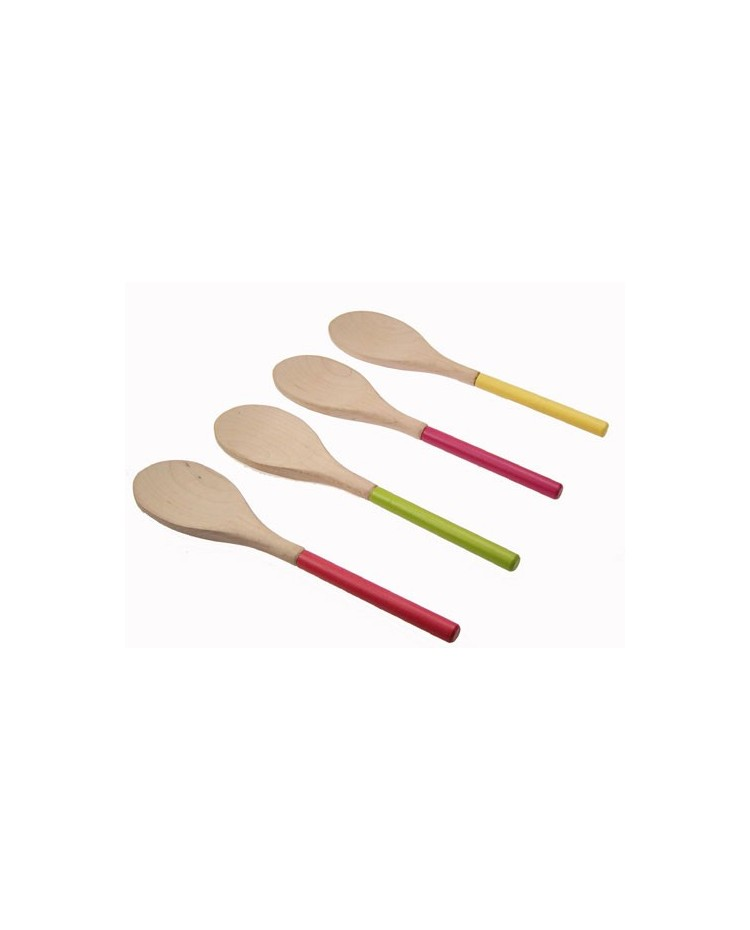 image: Coloured handle wooden spoon