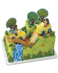 image: Dora & Diego Safari cake topper set