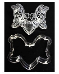 image: Embroidery lace cutter & impression  Heart butterfly