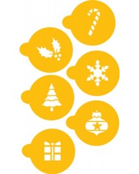 image: Christmas holiday cupcake or cookie stencil set