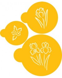 image: Brush Stroke Embroidery Spring Garden Flowers stencil set
