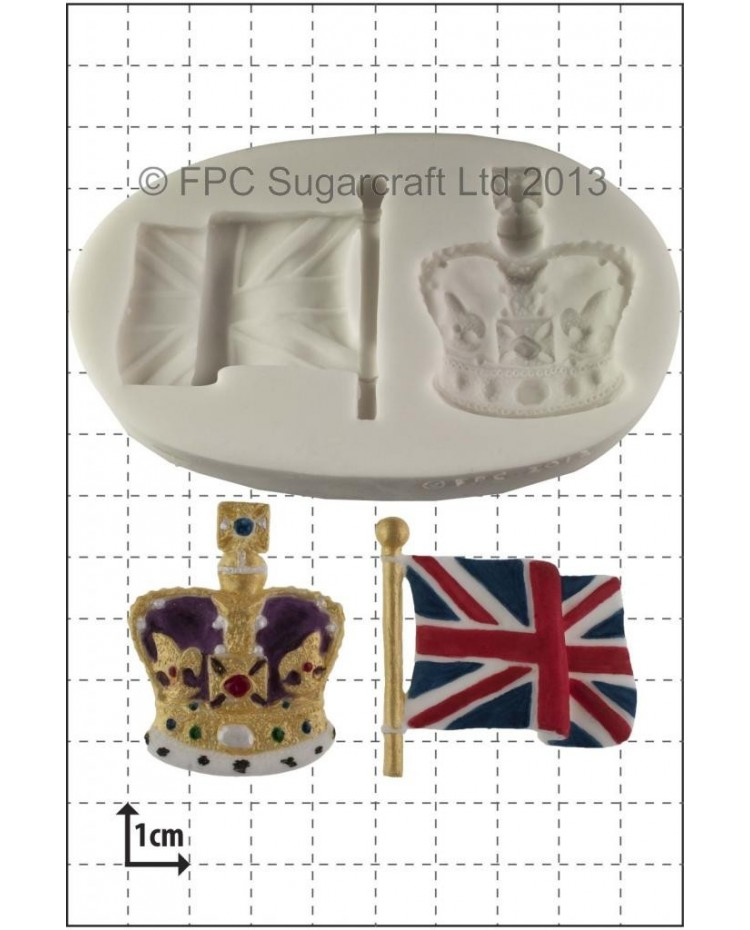 image: Union Jack flag & crown silicone mould