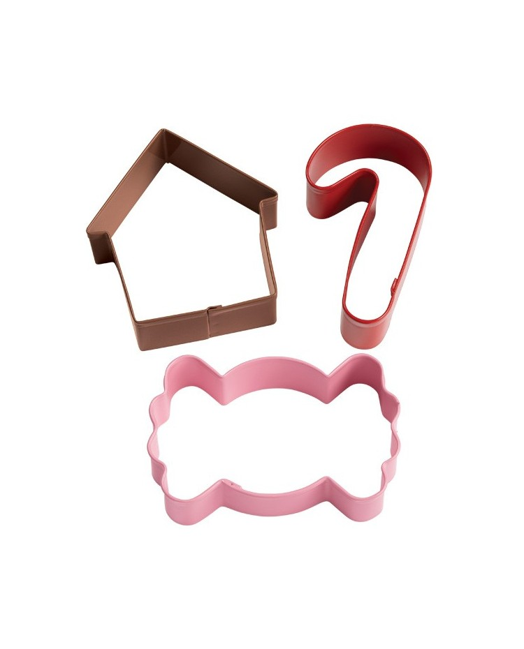 Gingerbread cottage house candy holiday cookie cutter set for Cookie cutter house plans