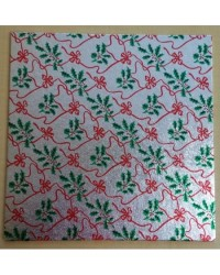 "image: Christmas cake board square 10"" silver holly & red bows"