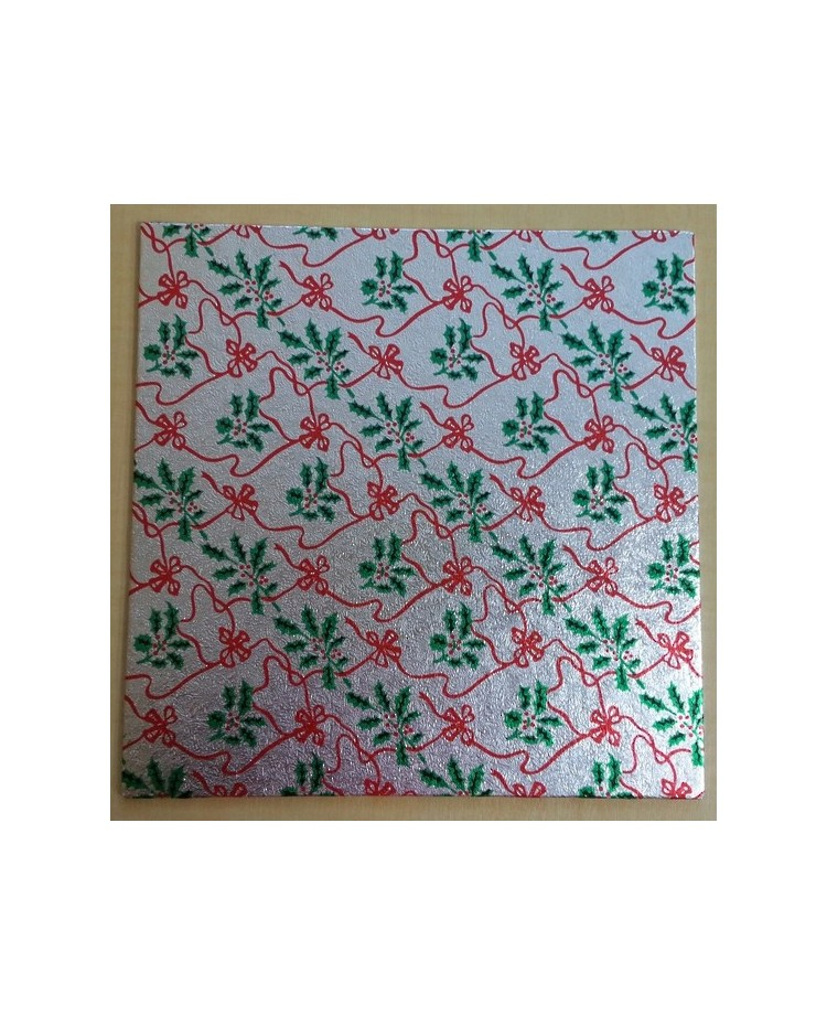 """image: Christmas cake board square 10"""" silver holly & red bows"""