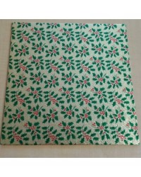"""image: Christmas cake board square 10"""" Gold with green holly"""