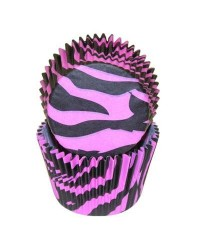 image: Zebra stripe (Hot Pink & black) baking cups cupcake papers