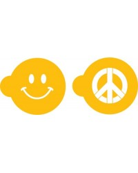 image: Peace sign & happiness smiley face stencil set