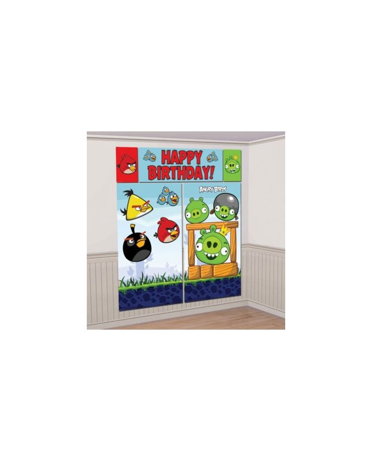 image: Angry birds scene setter wall decorating kit