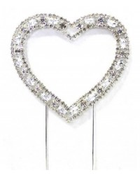 image: Open heart medium diamante cake topper pick