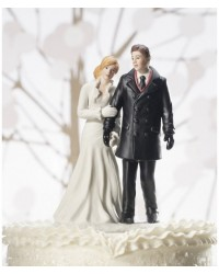 image: Bride & Groom wedding cake topper Winter wonderland