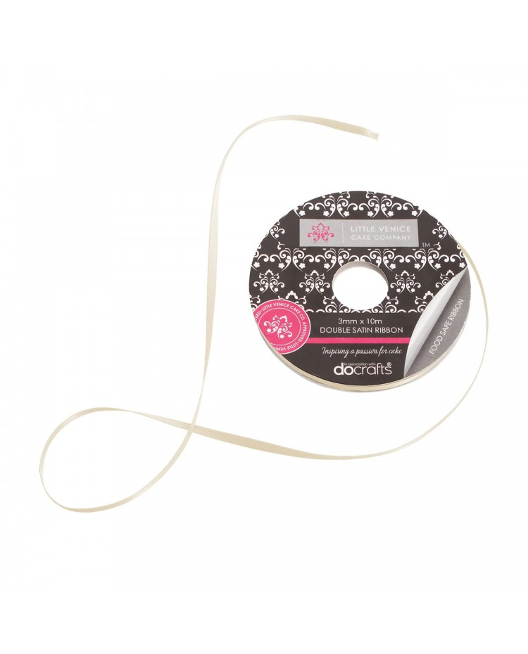 image: LVCC Champagne or ivory 3mm Double satin ribbon spool x10 mtr