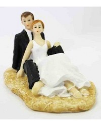 image: Bride & Groom cake topper Beach couple sitting (resin)