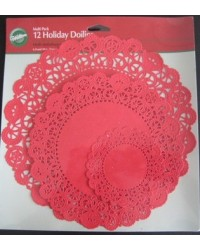image: Red Wilton paper doilies doily pack 12