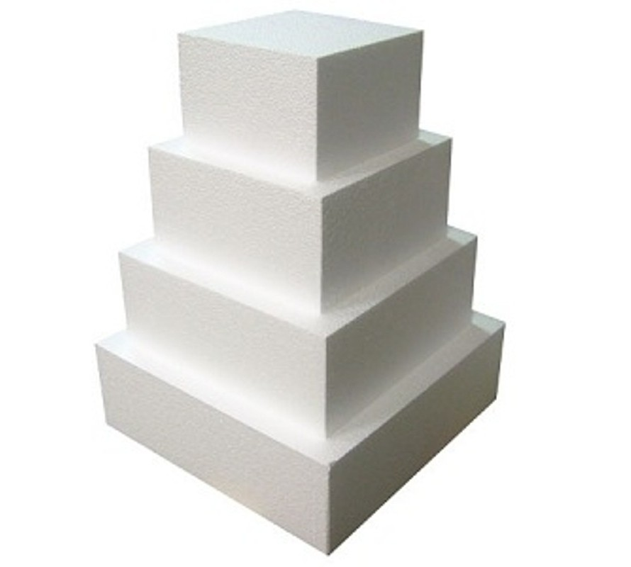 Polystyrene cake dummies. Round square & heart shape dummy available