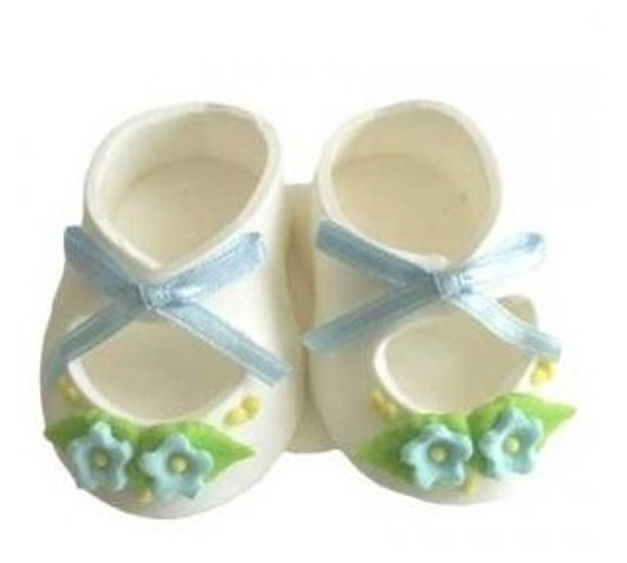 Baby theme icing decorations for you cake. Booties, baby feet & more
