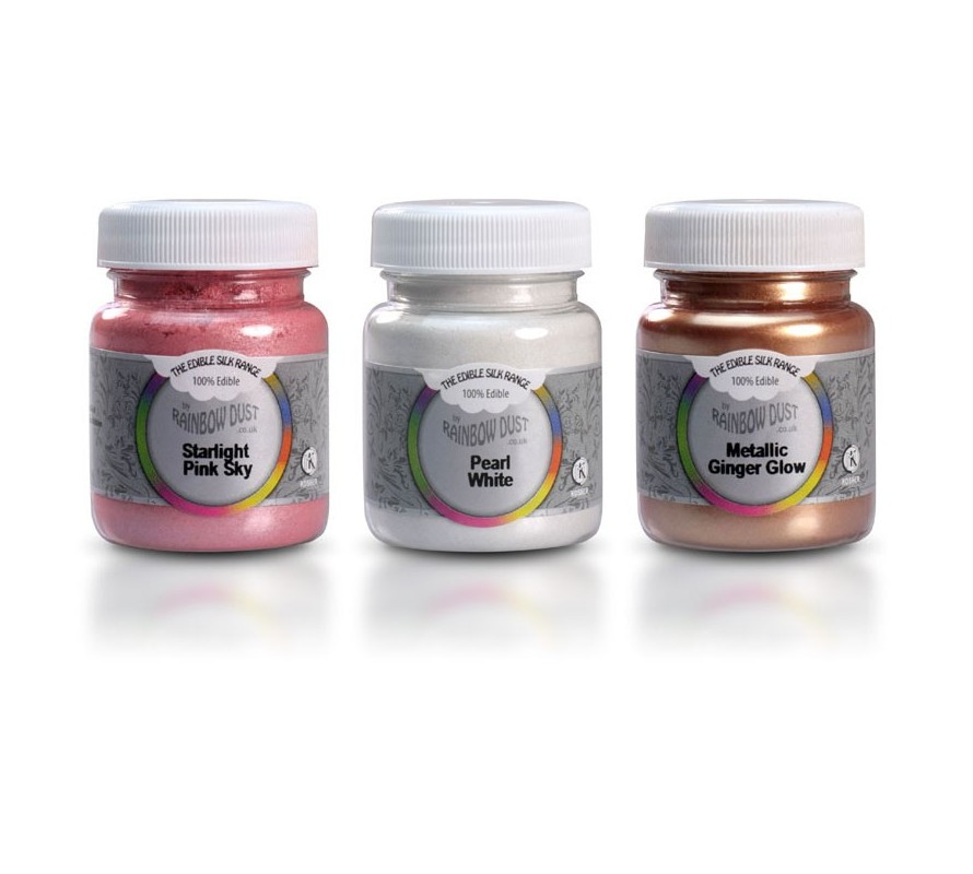 Edible food grade lustre dusts in bulk size pots for cake decorating