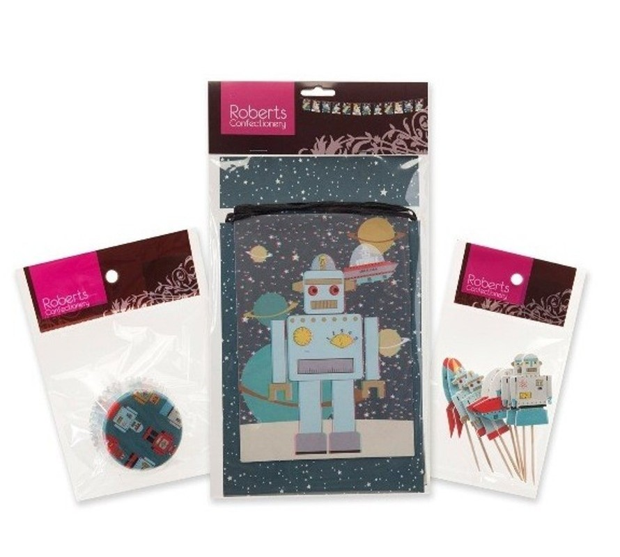 Robot themed cake cookie & cucpake decorating supplies